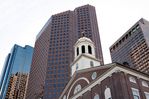 Steeple atop Faneuil Hall a historic building found in Boston Massachusetts.