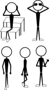 Stick Figure Characters Actions