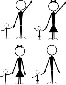 Stick Figure Family People