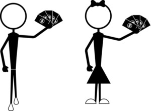 Stick Figures Holding Money