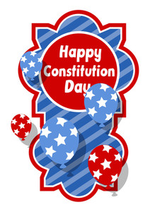 Sticker Badge  Constitution Day Vector Illustration