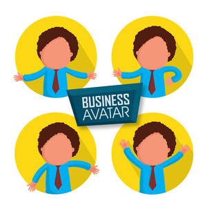 Sticker or label of young businessman avatar.