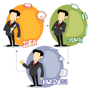 Sticker tag or label with young businessmen and various elements on white background