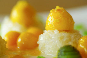Sticky Rice with Mango close up