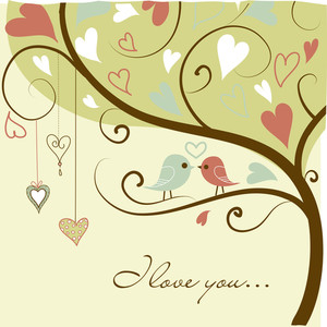 Stock Vector Illustration:-stylized Love Tree Made With Two Birds In Love-