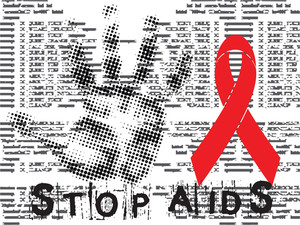 Stop Aids Grunge Backgrround With Hand And Red Ribbon