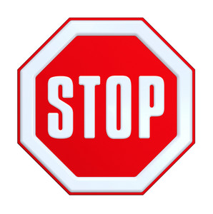 Stop Sign Isolated On White.