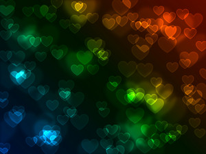 Bokeh Neon Hearts Background