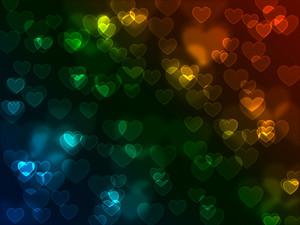 Bokeh Neon Hearts Background