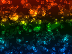 Bokeh Neon Rectangles And Starbursts Background