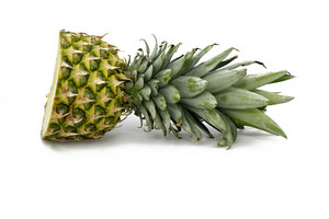 Pineapple Cut In Half On White Background