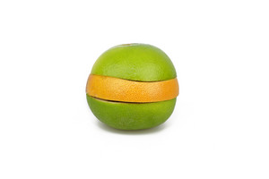 Citrus Fruit Slices Stacked On White Background