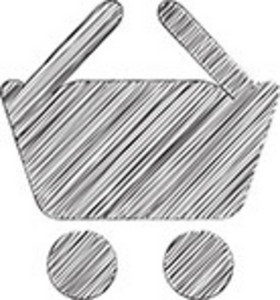 Scribbled Shopping Cart Icon On White Background