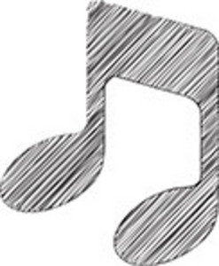 Scribbled Musical Note Icon On White Background