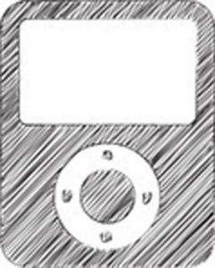 Scribbled Portable Media Player On White Background