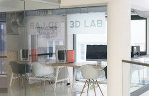 3D lab, new technology laboratory classroom. Startup business modern office interior
