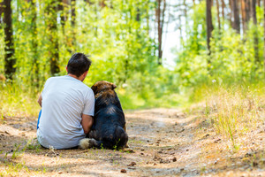 A man is sitting with a dog on the path in the forest