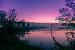 A misty morning over the river. Pink dawn over the river. Rural landscape