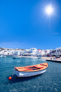 A row boat in Mykonos, Greece