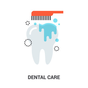 Abstract flat line vector illustration of dental care concept