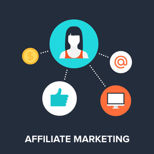 Abstract flat vector illustration of affiliate marketing concept. Elements for mobile and web applications.