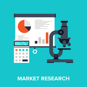 Abstract flat vector illustration of market research concept. Elements for mobile and web applications.