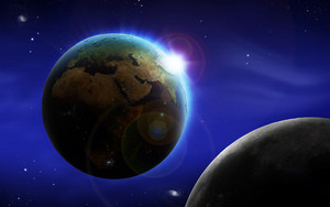 Abstract image of space background with earth and moon