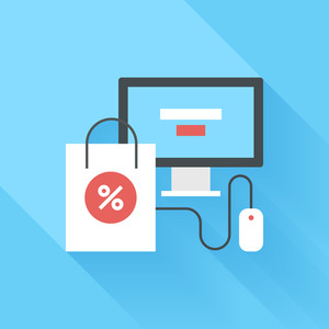Abstract vector illustration of digital commerce flat design concept.