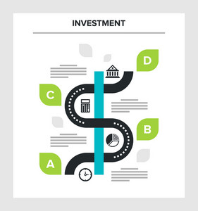 Abstract vector illustration of investment flat infographic concept.