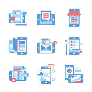 Abstract vector set of flat mobile applications and services icons.
