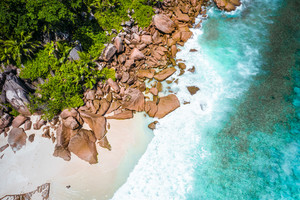 Aerial drone photo of Seychelles tropical beach Anse Marron at La Digue island
