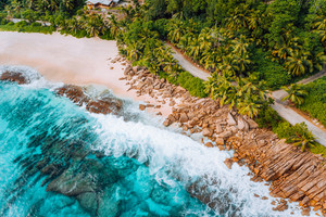 Aerial photo of bizarre paradise tropical beach at Seychelles. Summer vacation, travel and lifestyle concept
