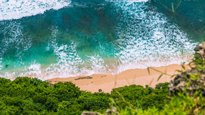 Aerial view of rolling turquoise ocean waves over pure clear sandy beach on sunny day. Surrounded by lush green jungle