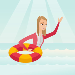 Afraid caucasian business woman with lifebuoy sinking and waving. Frightened business woman sinking and asking for help. Concept of failure in business. Vector flat design illustration. Square layout.