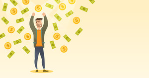 African-american successful businessman standing with raised hands under money rain. Excited businessman enjoying a rain of money. Vector flat design illustration. Horizontal layout.