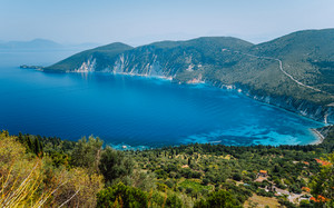 Amazing landscape of mediterranean island. Summer vacation. Greece, island Ithaki-view of the picturesque bay on hot sunny day.