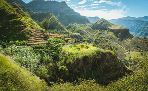 Amazing view of high mountains covered with lush green vegetation. Picturesque banana and sugarcane plantations on the trekking trail to Coculli Santo Antao Cape Verde