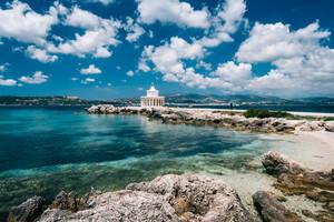 Amazing view of Saint Theodore Lantern. Picturesque landscape with beautiful clouds. Argostoli Vilagito Torony Nature Preserve. Outdoor scene of Kefalonia island, Argostoli town, Greece, Europe
