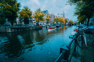 Amsterdam cityscape before the blue hour, Holland, The Netherlands