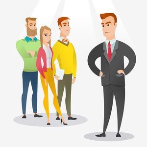 Angry caucasian business man shouting at his employees. Aggressive business man firing his employees. Annoyed business man yelling at his employees. Vector flat design illustration. Square layout.