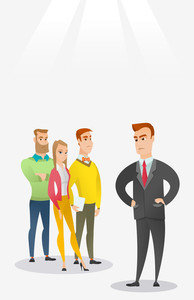 Angry caucasian business man shouting at his employees. Aggressive business man firing his employees. Annoyed business man yelling at his employees. Vector flat design illustration. Vertical layout.