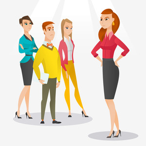 Angry caucasian business woman shouting at her employees. Aggressive business woman firing her employees. Annoyed business woman yelling at employees. Vector flat design illustration. Square layout.
