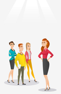 Angry caucasian business woman shouting at her employees. Aggressive business woman firing her employees. Annoyed business woman yelling at employees. Vector flat design illustration. Vertical layout.