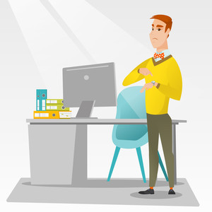 Angry caucasian employer pointing at wrist watch. Irritated employer checking time of coming of latecomer employee. Concept of late to work and deadline. Vector flat design illustration. Square layout