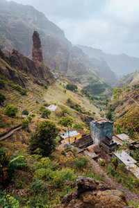 Areal view of Xo-Xo valley of Santa Antao island, Cape Verde. buildings in the lowland between high rocks.