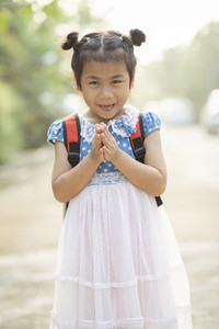asian children sawasdee greeting thai culture