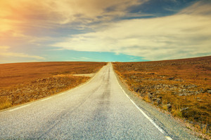asphalt road in lapland