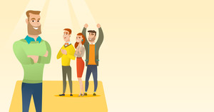 Audience applauding at business conference. Caucasian businessmen applauding at business seminar. Young businessmen applauding during presentation. Vector flat design illustration. Horizontal layout.