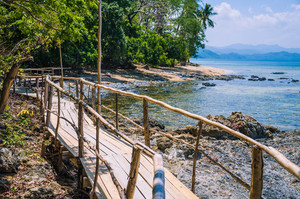 Bamboo path on tropical beach with palm trees, El Nido, Palawan, Philippines