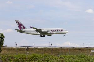 BANGKOK THAILAND - AUGUST 22,2015 : airbus a 380 of qatar airline approaching for landing to savarnabhumi airport ,qatar airline one of arab airliner leader